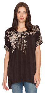 Johnny Was Embroidered Floral Scoop Neck Short Sleeve Tunic