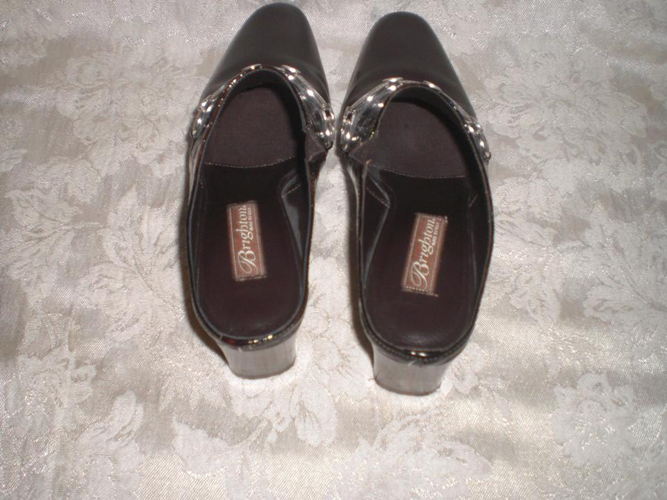 Madame Madame Madame brighton brun foncé brighton-034-twiggy-034-Marron -leather-amp-embossed-patent-slides sandales fiables. 370f49