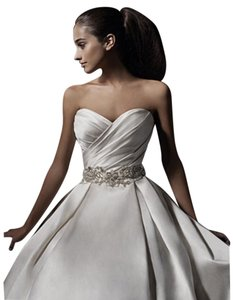 Alfred Angelo Ivory/Champagne Satin Style 2390 Ball Gown Formal Traditional Wedding Dress Size 2 (XS)
