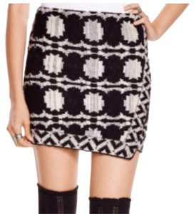 Free People Mini Skirt black and cream white.