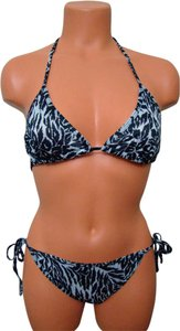 Other Chun Black & Off White Animal Print Tie String Bikini Swimwear 1 Size Fits
