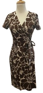 Diane von Furstenberg short dress brown/white on Tradesy