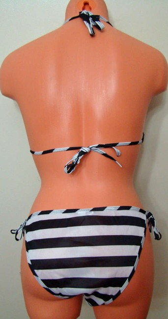 Other Chun - Black & Off White Stripe Tie String Bikini Swimwear - 1 Size Fits Most
