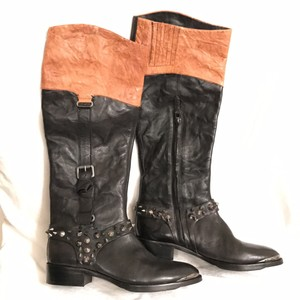 Sam Edelman Leather Two Tone Spiked Studs New/nwot Black/Brown Boots
