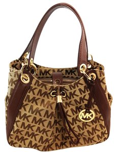 Michael Kors Jacquard Leather Mk Ludlow Satchel in Brown