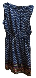 Feathers short dress blue/white on Tradesy