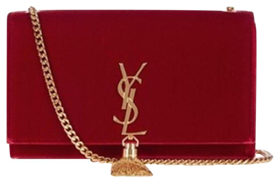 3ca7892e52ea Saint Laurent Monogram Kate Ysl Flap Chain Gold Red Velvet Shoulder ...