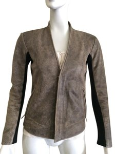VEDA Leather Boss Fitted Distressed Leather Jacket