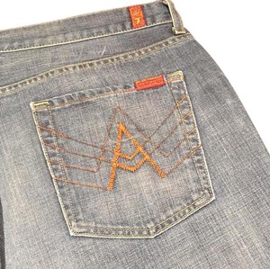 """7 For All Mankind """"A"""" Pocket 40x34 40l Distressed Relaxed Fit Jeans-Distressed"""