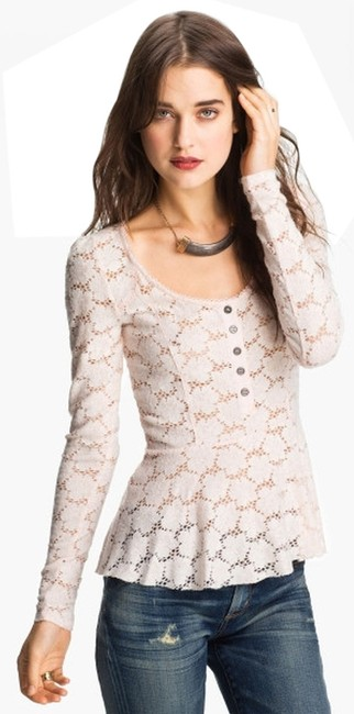 Preload https://item4.tradesy.com/images/free-people-pink-lace-peplum-henley-blouse-size-2-xs-2067523-0-0.jpg?width=400&height=650