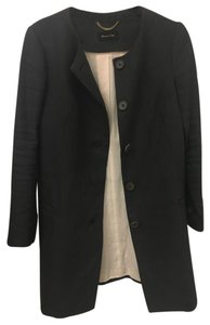 Massimo Dutti Autumn Mid-length Striped Lining Navy Jacket