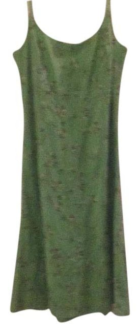 Item - Green Floral Embroidered Sun Mid-length Short Casual Dress Size 8 (M)