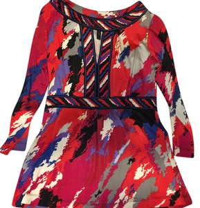 BCBGMAXAZRIA Top Red, pink, blue, purple, white, grey and black