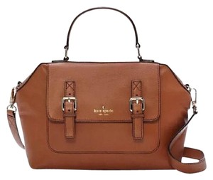 Kate Spade 14k Gold Removable Strap Satchel in Cognac Saddle Brown