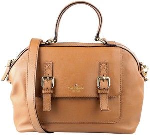 Kate Spade Gold Removable Strap Satchel in Cognac