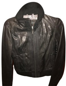 Black Rivet Ca#57151 Leather Shell Polyester Lining Leather Jacket