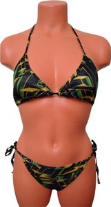Chun - Black Multi Color Geometrical Tie String Bikini Swimwear 1 Size Fits Most
