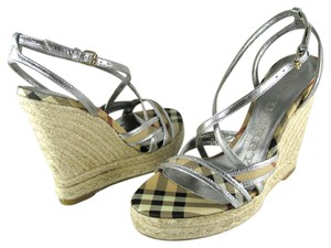 Burberry Party Silver Nude Brown Sandals
