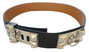 Hermès AUTHENTIC HERMES BLACK LEATHER COLLIER DE CHIEN STUD BELT
