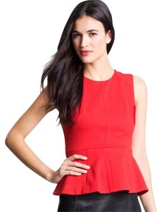 Vince Camuto Peplum Cotton Holiday Top red