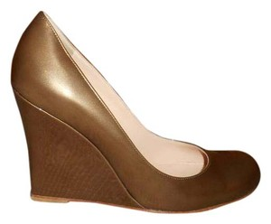 Christian Louboutin Metallic Brown Patent Leather Wedges