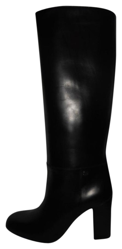 021298253b4 Chanel Black 12a Classic Leather Knee High Tall Logo Boots/Booties Size EU  36 (Approx. US 6) Regular (M, B) 37% off retail