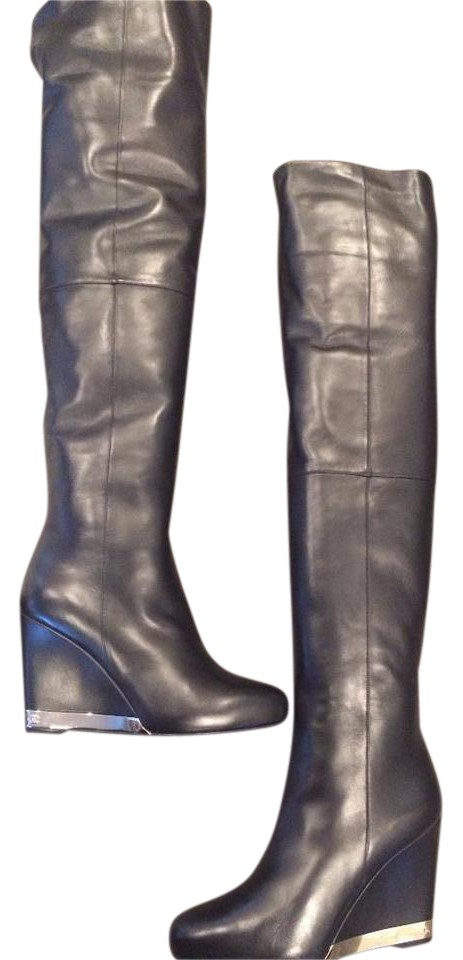 758794d9896 Chanel Black 15b Lambskin Leather Tall Over The Knee High Wedge  Boots/Booties Size EU 37.5 (Approx. US 7.5) Regular (M, B) 41% off retail