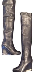 Chanel Cc Over The Kbee Wedge Black Boots