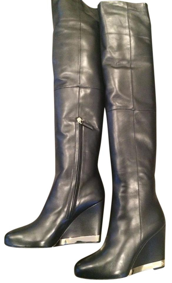 77d1675d1e6 Chanel Black 15b Lambskin Leather Tall Over The Knee High Wedge Boots  Booties
