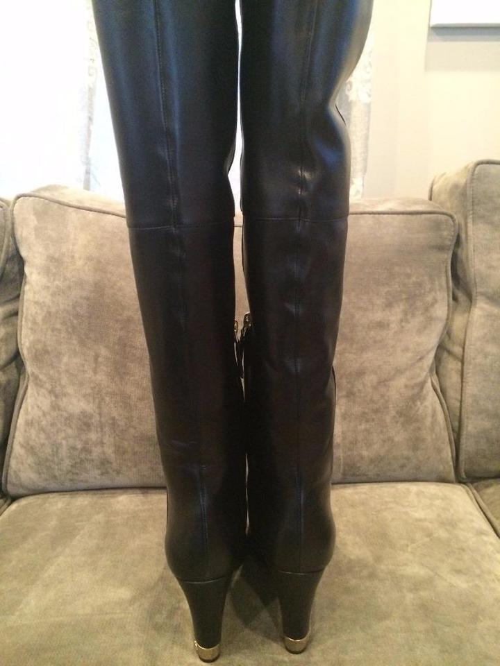 a8c2f1809af Chanel Black 15b Lambskin Leather Tall Over The Knee High Wedge  Boots/Booties Size EU 38 (Approx. US 8) Regular (M, B) 41% off retail