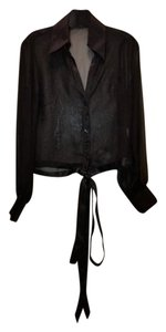 Anne Fontaine Sheer Ribbon Top Black