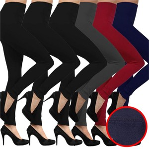 TD Collections Pack of 6 Black Womens Fleece Lined Thick Seamless FOOTLESS LEGGING #S