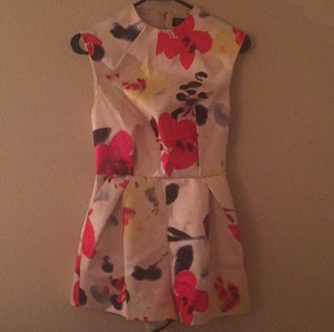 Topshop Dress Shorts ivory base, red purple navy floral pattern