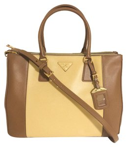 Prada Saffiano Leather Satchel in Brown/Yellow