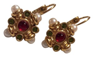 Avon Lever back pierced earrings. Small red, green and pearls