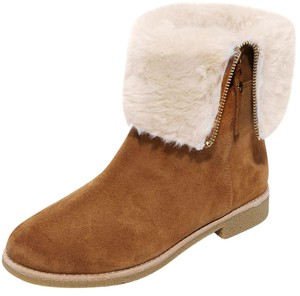 Kate Spade Baja Fold Over Faux Fur Cuff Tobacco Suede Brown Boots