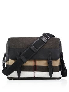 Burberry Canvas/leather Trim Black/Check Messenger Bag