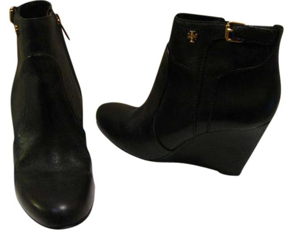 7dc1d726312 Tory Burch Black Milan Leather Wedge Ankle Boots Booties Size US 6 ...