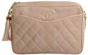 Chanel Vintage Camera Quilted Cc Logo Lizard Cross Body Bag