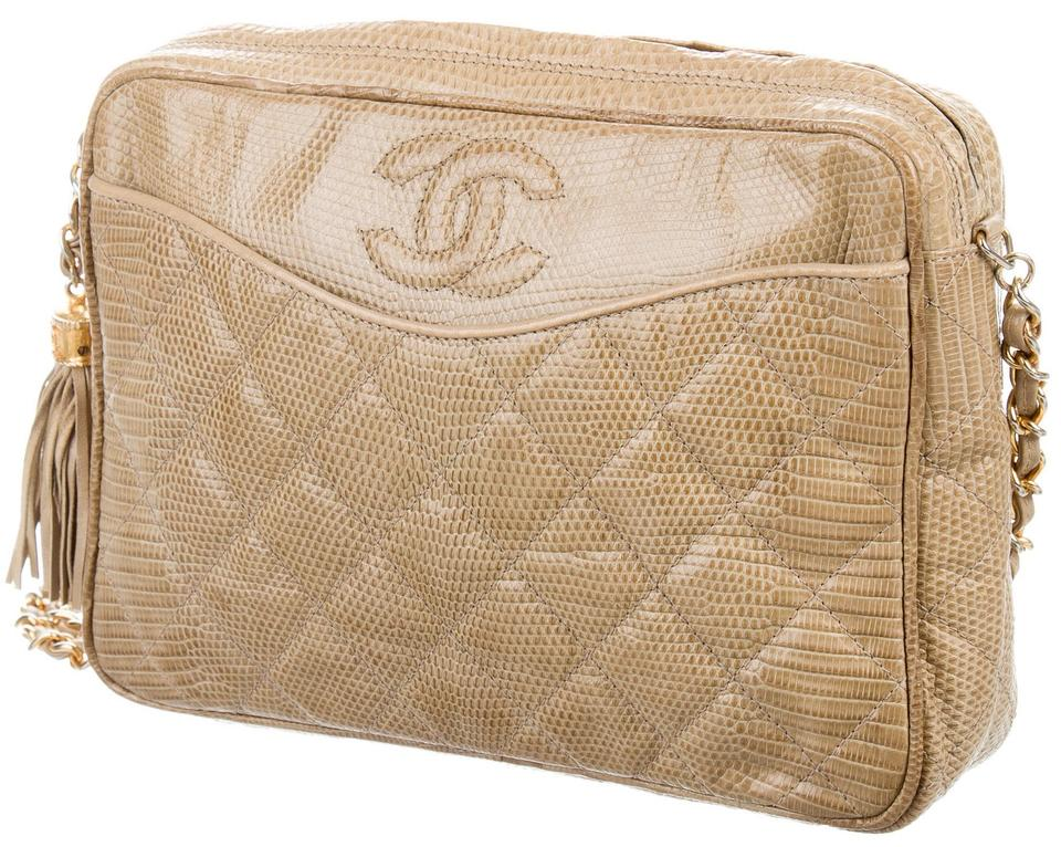 d4cddfa31c8b Chanel Camera Case Vintage Quilted Jumbo Cc Tassel Classic Shoulder Beige  Gold Lizard Leather Cross Body Bag