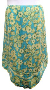 J. Jill Asymmetric Floral Silk Lined Petite Skirt Blue