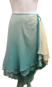 Laundry by Shelli Segal Hi Lo Silk Chiffon Ombre Tiered Skirt Blue and Yellow