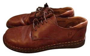 Børn Leather Lace Up Oxford Work Chestnut Brown Flats