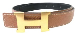 Herms 32mm Black and Cognac Reversible Constance Belt