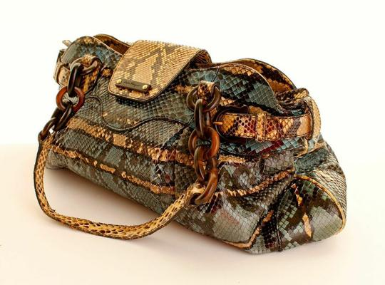 Salvatore Ferragamo Snake Skin Ferragamo Skin Freeagamo Python Handbag Python Satchel in Blue and Brown