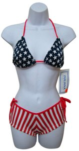 Zuliana - Red White & Blue American Flag Boy Shorts with Thong Tie String Bikini