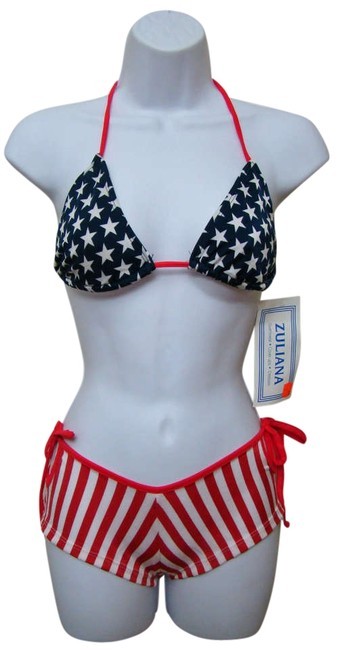 Other Zuliana - Red White & Blue American Flag Boy Shorts with Thong Tie String Bikini