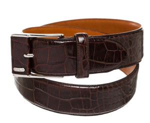 Ralph Lauren Ralph Lauren Brown Embossed Croc Skin Buckle Belt (Size M)