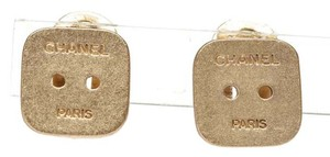 Chanel Chanel Gold Chanel Paris Square Button Clip On Earrings