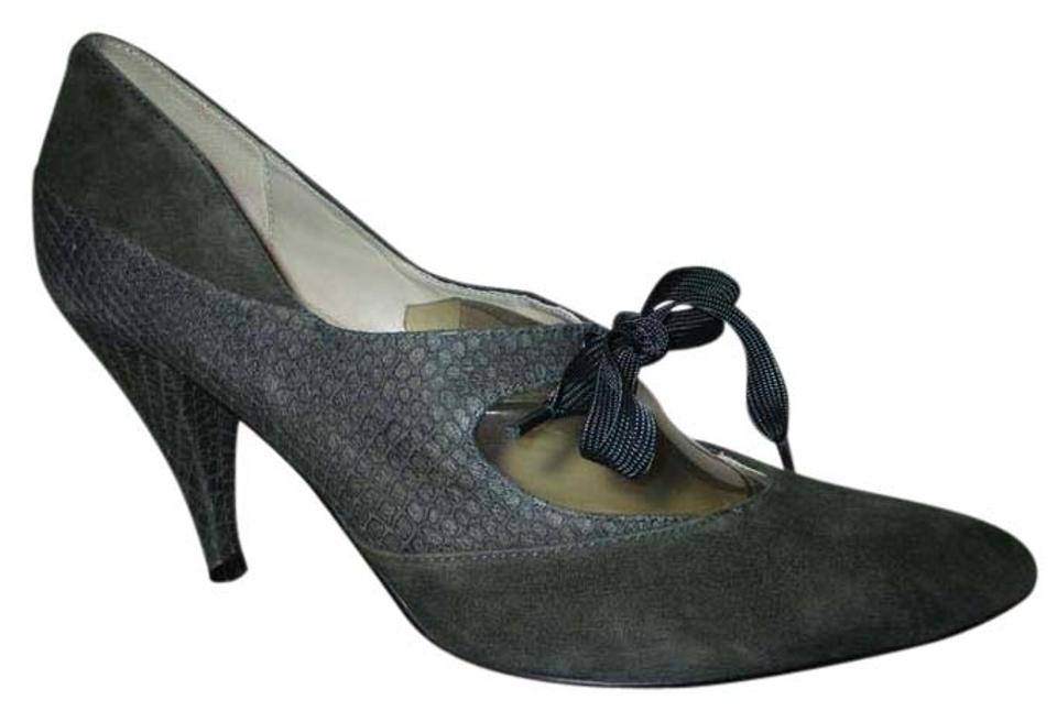 Ted Ted Ted Baker Dark Grey Snakeskin Embossed Suede Pumps 1950da